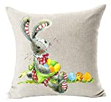 Happy Easter oil painting Smile bunny Color Egg and Butterflies Cotton Linen Square Decorative Throw Pillow Case Cushion Cover 18inchs (5)