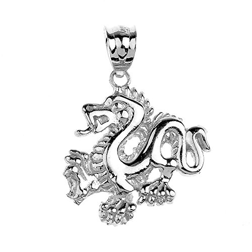 14k White Gold Chinese Dragon Charm Pendant