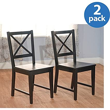 Charmant Virginia Cross Back Chair, Set Of 2, Black