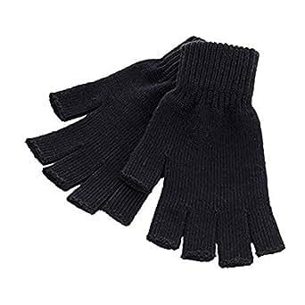 Unisex Men and Women Black Knit Fingerless Gloves