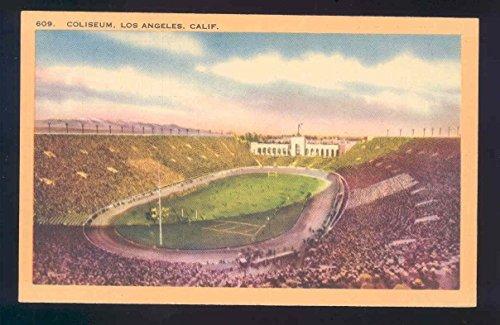 linen football olympic postcard COLISEUM LOS ANGELS CALIFORNIA stadium