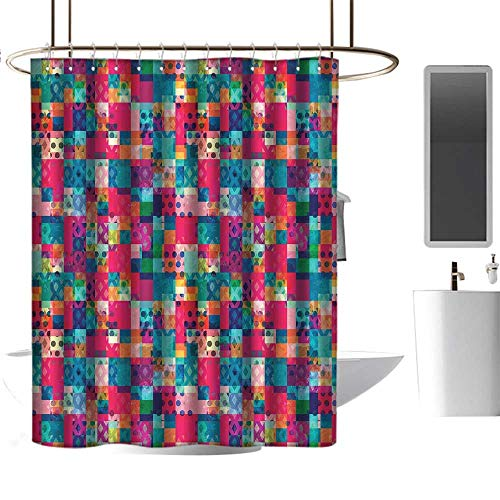 Qenuan Shower Curtain Liner Resistant Geometric,Fashion Themed Italian Grunge Modern Color Contrast Squares with Dots Artwork,Multicolor,Metal Rust Proof Grommets Bathroom Curtain 72