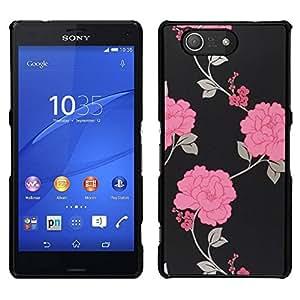 // PHONE CASE GIFT // Duro Estuche protector PC Cáscara Plástico Carcasa Funda Hard Protective Case for Sony Xperia Z3 Compact / Floral Wallpaper Grey Beautiful /