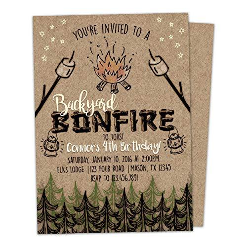 Bonfire Birthday Invitation Kraft Bonfire Invite Outdoor]()