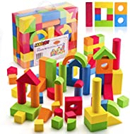 JaxoJoy Foam Building Blocks for Kids- 108 Piece EVA Foam Blocks Gift Playset for Toddlers Includes Large, Sof