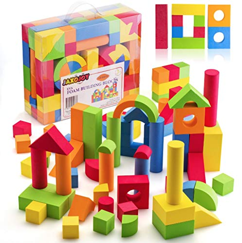 Foam Wonder Blocks - JaxoJoy Foam Building Blocks for Kids- 108 Piece EVA Foam Blocks Gift Playset for Toddlers Includes Large, Soft, Stackable Blocks in Variety of Colors, Shapes & Sizes - Recommended Ages 3+.