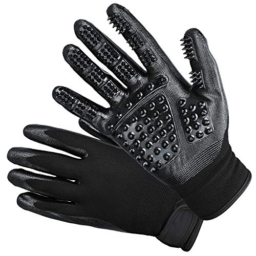 DELOMO 2019 Upgraded Pet Grooming Gloves, Deshedding Gloves for Dogs, Cats & Horses, Pet Hair Remover Glove, Hair Glove with Enhanced Five Finger Design, One Pair-Left & Right-Gentle