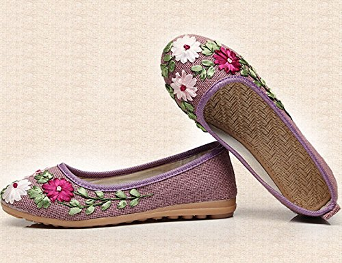 redonda planos bordado de baile 35 baja cabeza zapato hechos nacional femenino madre zapatos mano tendón inferior zapatos boca hembra Blanco a Zapatos Tamaño Purple cuadrado viento flores Color R6x6wf
