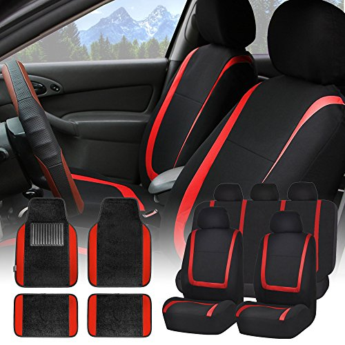 FH GROUP FH-FB032115 Unique Flat Cloth Seat Covers with F14407 Premium Carpet Floor Mats Red / Black- Fit Most Car, Truck, Suv, or Van