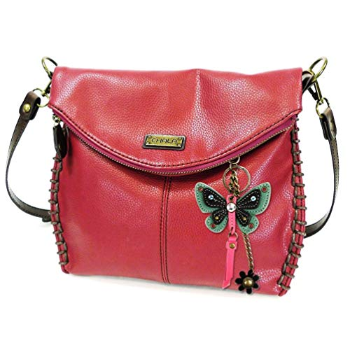 Butterfly Key Fob - Chala Charming Crossbody Mid Size Handbag with Mini Butterfly Key fob (Burgundy- Teal Butterfly)