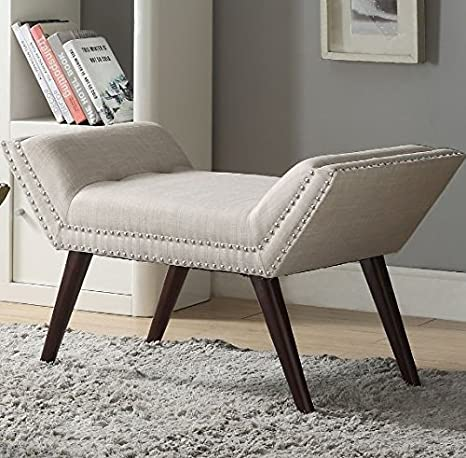 Pleasant Amazon Com Upholstered Entryway Bench Nailhaid Trim Retro Spiritservingveterans Wood Chair Design Ideas Spiritservingveteransorg
