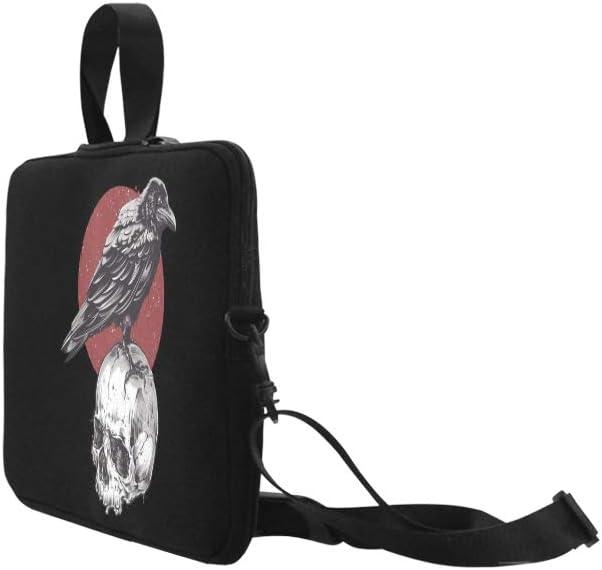Raven On Skull Grunge Image Hand Briefcase Laptop Bag Messenger Shoulder Work Bag Crossbody Handbag for Business Travelling