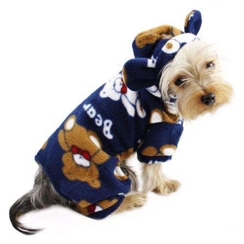 Plush Teddy Bears Fleece Dog Pajamas / Bodysuit with Hood Size: Lage, My Pet Supplies