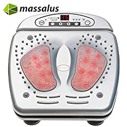 Massalus Foot Massager Multi-Level Setting Vibro Plantar Massager and Built in Infrared Heat Function for Tired Feet, Chronic, Neuropathy and Nerve Pain (Silvery)