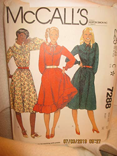 (Vintage Mccalls 7288 Sewing Pattern for Ruffled Curved Front and Back Bias Yokes, Front Button Band, Dress, with Attached Gathered Skirt with Optional Hem Ruffle. Long Sleeves with Ruffled Cuff Anf Collar.)