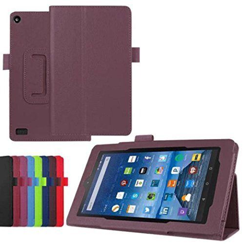 Price comparison product image Sinwoz Fire HD 7 Case [2015], Amazon Kindle Fire HD 7 Case PU Leather Hybrid Protective Case Cover, Full Cover Impact Resistant Bumper Wallet Case Shell (Purple)