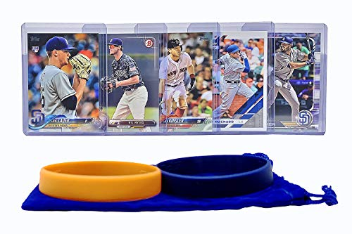 (San Diego Padres Baseball Cards: Eric Hosmer, Wil Myers, Manny Machado, Ian Kinsler, Eric Lauer ASSORTED Trading Card and Wristbands Bundle)