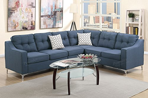 Poundex F6889 Bobkona Adalia Sectional Set, Navy