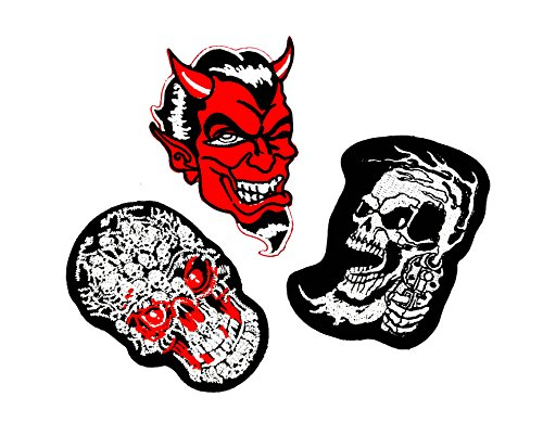 PP patch Set 3 Red Laughing Devil,Skull Ghost Day Of The Death Love,Red Laughing Devil,White Sugar Skull Ride Patch for Bags Jacket T-shirt Embroidered Sign Badge Costume DIY Applique Iron (Ride 3 Piece Costumes)