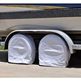 jeep 5th wheel cover - Tire Covers for RV Wheel, HEALiNK Set of 2 Tires Covers, Waterproof Vinyl Oxford Tires Protector Wheel Cover, Fits for RV Jeep Motorhome Auto Truck Car Camper Trailer to 28'' Diameter