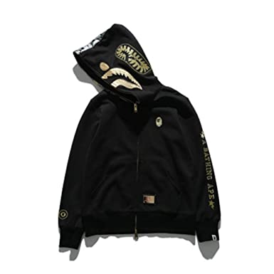 Bape Black Gold Embroidered Space Cotton Shark Hooded Sweater Hoodie For Men/Women: Amazon.es: Ropa y accesorios
