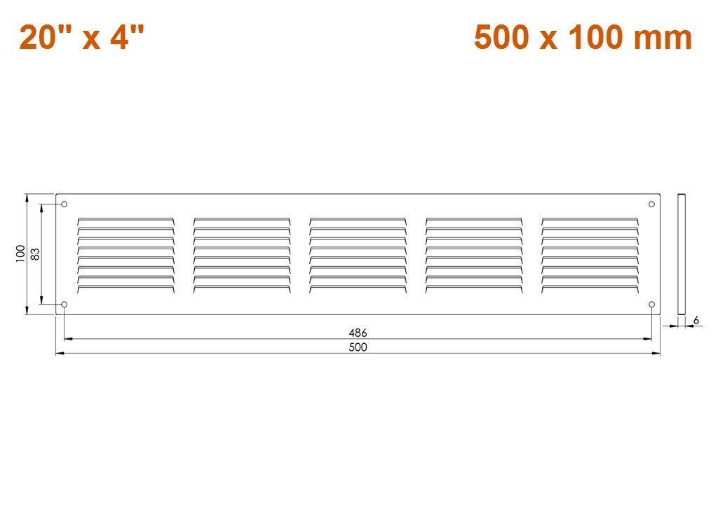 /M/étal Blanc mr5010 /Avec moustiquaire/ /500/x 100/mm/ Haco Grille da/ération M/ét/éo Grille de protection/