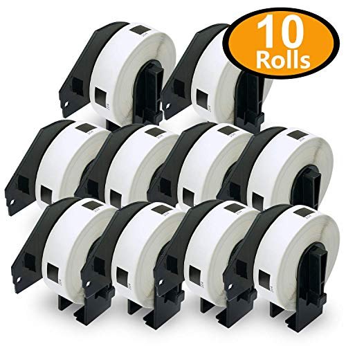 BETCKEY - 10 Rolls Compatible Brother DK-1204 17mm x 54mm(2/3 x 2-1/8) [4000 Labels with Refillable Cartridge Frame]