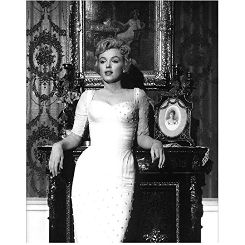 The Prince And The Showgirl Marilyn Monroe In White Dress Leaning On Fireplace 8 x 10 Photo (Marilyn Monroe The Prince And The Showgirl Dress)