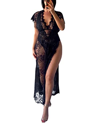 XAKALAKA Womens Sexy V Neck Eyelash High Slit Lingerie Robe Lace Mesh Sheer  Sleepwear Black S e7193a2b6