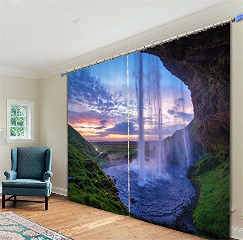 Newrara Amazing Nature Waterfall 3D Printed Polyester Curtain 2 Panels for Living Room Bedroom,Free Hook Included 118 W106 L, Green