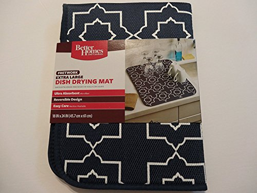 Better Homes and Gardens Fretwork Dish Drying Mat Navy Blue and White - Extra Large and Reversible