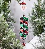 Holiday Hanging Swirl Garden Wind Spinner - 5.5 L x 5.5 W x 35 H - Santa
