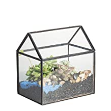 Black Brass Copper House Shape Close Glass Geometric Terrariumn Tabletop Succulent Plant Box Planter Moss Fern with Swing Lid Reptile 6.1 inches x 6.3 inches x 4.33 inches