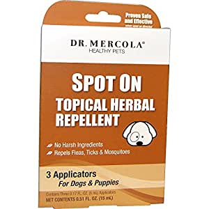 Spot On Topical Herbal Repellent For Dogs & Puppies - No Harsh Ingredients - Repels Fleas, Ticks, & Mosquitoes - Dr. Mercola Healthy Pets - 3 Applicators (3 Month Supply)