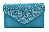 Nodykka Women Evening Envelope Rhinestone Frosted Handbag Party Bridal Clutch Purse (Teal)