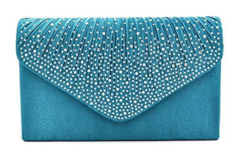 Blue Fabric Handbags - Nodykka Women Evening Envelope Rhinestone Frosted Handbag Party Bridal Clutch Purse (Teal)