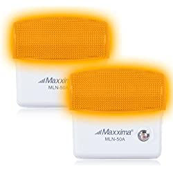 Maxxima MLN-50A Amber LED Night Light With Dusk to Dawn Sensor, Pack of 2