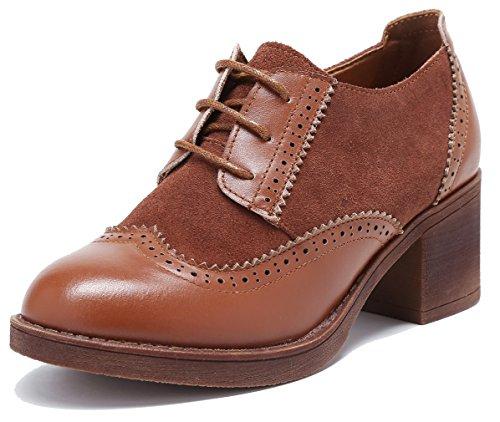 Oxford SimpleC Pump Comfy Brouge Damen Office Wingtip Wildleder Schuhe Rindsleder Perforierte Schnürsenkel OgqxrYO