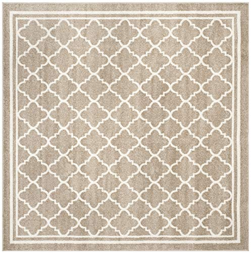 Safavieh Amherst Collection AMT422S Wheat and Beige Indoor/ Outdoor Square Area Rug (7' Square)