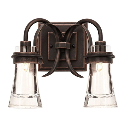Kalco 2912AC Dover - Two Light Bath Vanity, Antique Copper Finish with Clear Glass