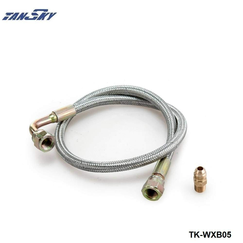 24' Oil Feed Line Cable Kit T3/T4 For Toyota Nissan Stainless Steel Braided TK-WXB05 Bo Luo