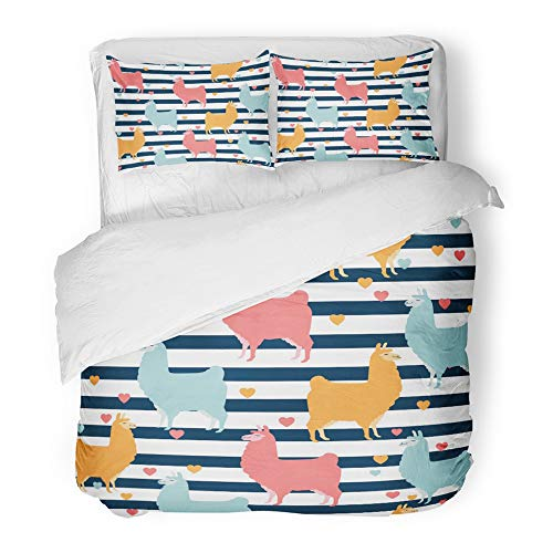Emvency 3 Piece Duvet Cover Set Brushed Microfiber Fabric Breathable Lama Cute Llama Design Colorful with Lines and Hearts Funny Characters in Baby Bedding Set with 2 Pillow Covers Twin Size