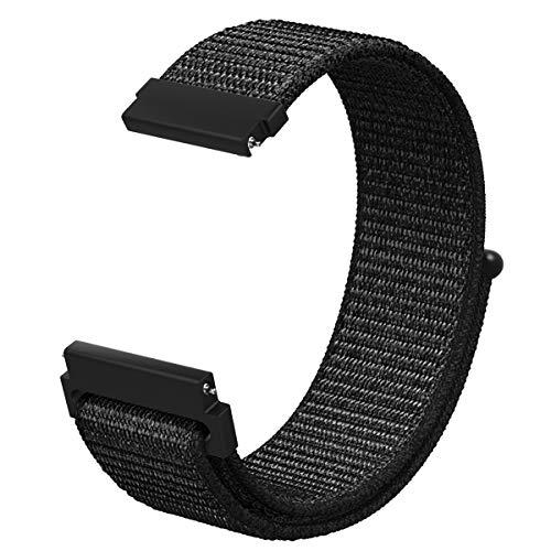 MoKo Band Compatible Samsung Gear S2 Classic/Galaxy Watch 42mm, Nylon Quick Release Watch Strap Gear S2 Classic SM-R732/R735/Moto 360 2nd/Ticwatch 2 & E/Gear Sport Smartwatch, Black
