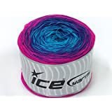 Lot of 2 x 150gr Skeins Ice Yarns CAKES COTTON FINE (50% Cotton) Yarn Fuchsia Purple Turquoise