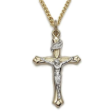 5b339e958af0 Image Unavailable. Image not available for. Color  14K Gold Plated Two Tone  Crucifix with Silver Tone INRI and Corpus ...