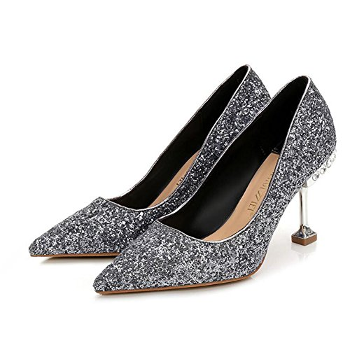 GAOLIXIA Black Gray Red 8 Heels 5cm Gold High Banquet Tip Heels 5 amp; 5 Silver Gray8 Women Spring Summer Sequins 5cm Party Comfort Shoes Wedding OTO6qwr