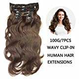 "SHOWJARLLY Wavy Clip in Hair Extensions Human Hair 7Pcs/70g 14"" Thick Full Head Body Wave Clip in Hair Extensions #2 Dark Brown Remy Clip in Human Hair Extensions"