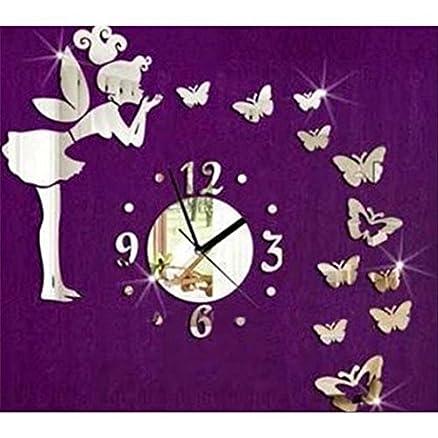 lifeup- orologio da parete moderni design fatina farfalle adesivi ... - Camera Da Letto In Regalo