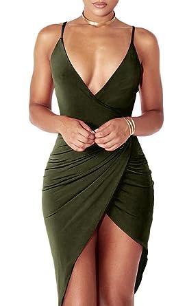 a0360cc37d34 Women's Sexy Deep V Neck Sleeveless Backless Bodycon Club Night Party Mini  Dress Small Army Green