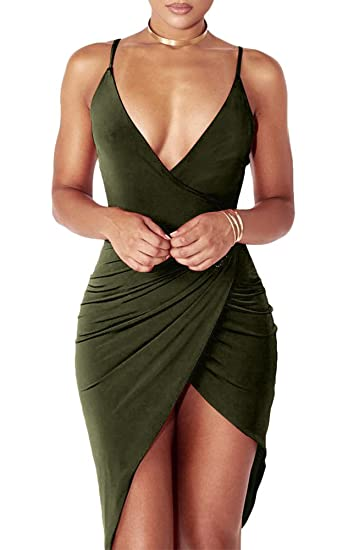 Amazon Com Women S Sexy Deep V Neck Sleeveless Backless Bodycon